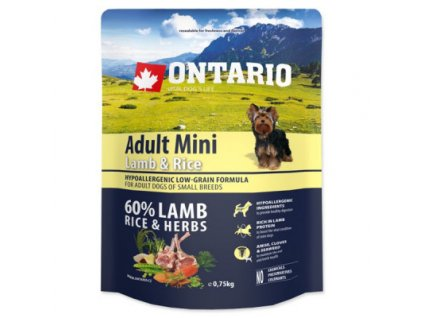 ONTARIO ADULT MINI LAMB & RICE & RICE 0,75KG