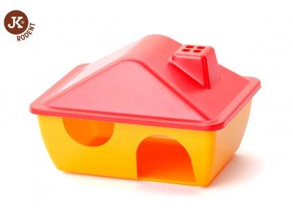 32420 04 jk animals plastovy domek 15 11 9 cm cerveno zluty 1