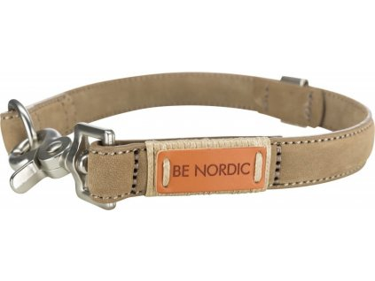 BE Nordic kožený obojek S 35cm/15mm písková