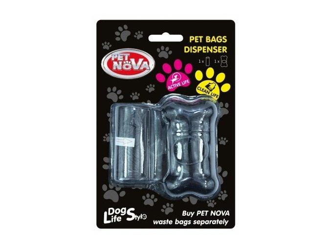 WDISPENSER-BL - Plastový zásobník na sáčky na exkrementy + 1 role černý