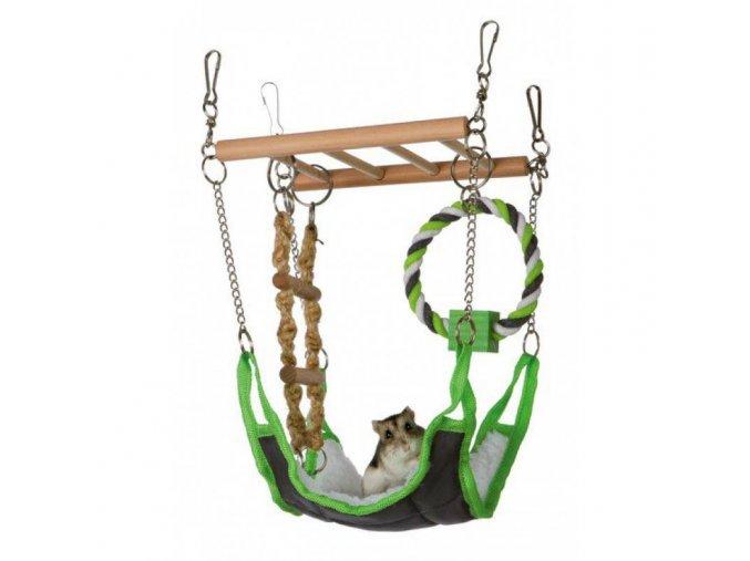 Závěsný žebřík s pelíškem a bavlněným kruhem