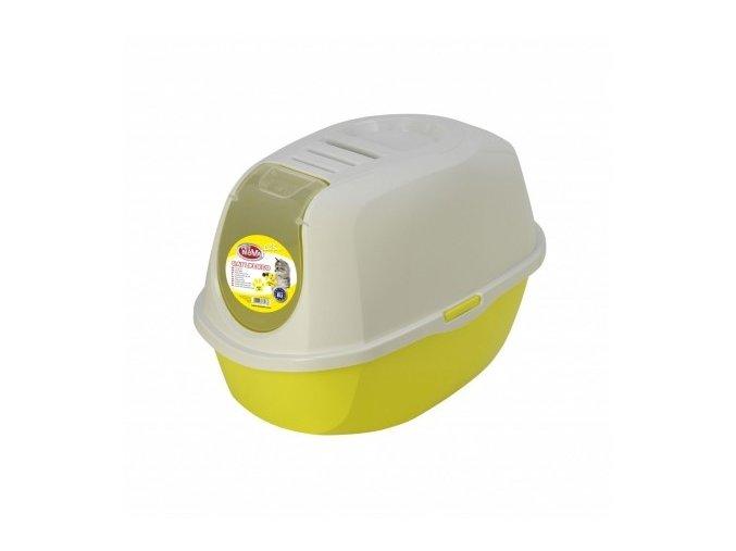 Kočičí toaleta s krytem žlutá