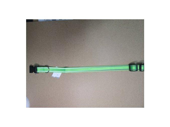 Obojek popruh plastová spona DOLEŽEL č.4 zelená reflexní