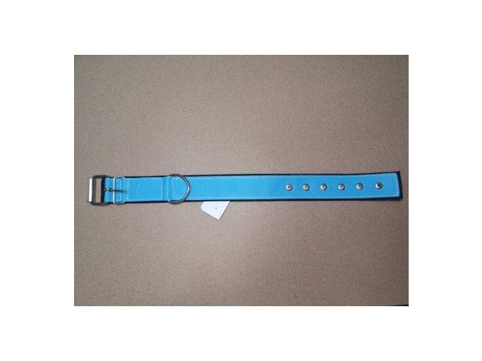 Obojek popruh DOLEŽEL kovová přezka polstrovaný 70cm světle modrá