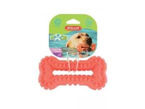 Hračka pes BONE MOOS TPR 13cm lososová Zolux