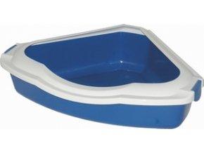 Rohová toaleta pro kočky 56x43x14 modrá