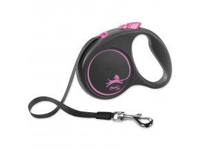 Vodítko FLEXI Black Design páska růžové S - 5 m
