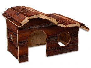 Domek SMALL ANIMALS kaskada dřevěný s kůrou 26,5 x 16 x 13,5 cm 1ks