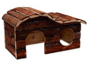 Domek SMALL ANIMALS kaskada dřevěný s kůrou 31 x 19 x 19 cm 1ks