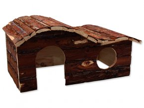 Domek SMALL ANIMALS kaskada dřevěný s kůrou 43 x 28 x 22 cm 1ks