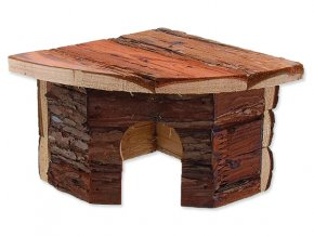 Domek SMALL ANIMALS rohový dřevěný s kůrou 16 x 16 x 11 cm 1ks