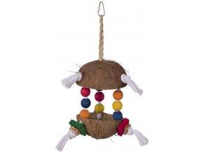 Hračka pro papoušky kokos 34x15cm