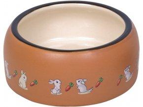 RABBIT keramická miska pro hlodavce hnědo-bílá 14,5 x 5,5 cm