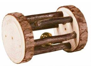 Dřevěný váleček s rolničkou pro moračata a králíky, dřevo s kůrou, ø 5 × 7 cm