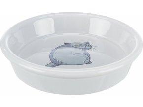 Keramická miska s motivem kočky, 0.25 l/ø 13 cm, šedá