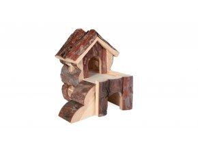 Dřevěný domek BJORK pro křečky, 2 místnosti 15 x 15 x 16 cm