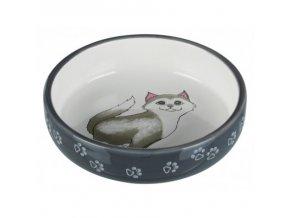 Keramická miska pro kočky s krátkým nosem 0,3l/15cm šedo/bílá