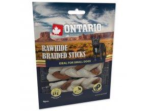 Snack ONTARIO Dog Rawhide Braided Stick Mix 7,5 cm 4ks