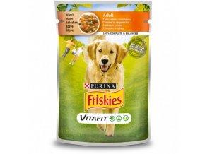 FRISKIES ADULT Dog 100g s kuřetem a mrkví ve šťávě
