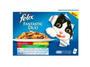 FELIX Fantastic DUO multipack jehněčí/kuře s rajčaty a vepřové/zvěřina s cuketou 4x100g