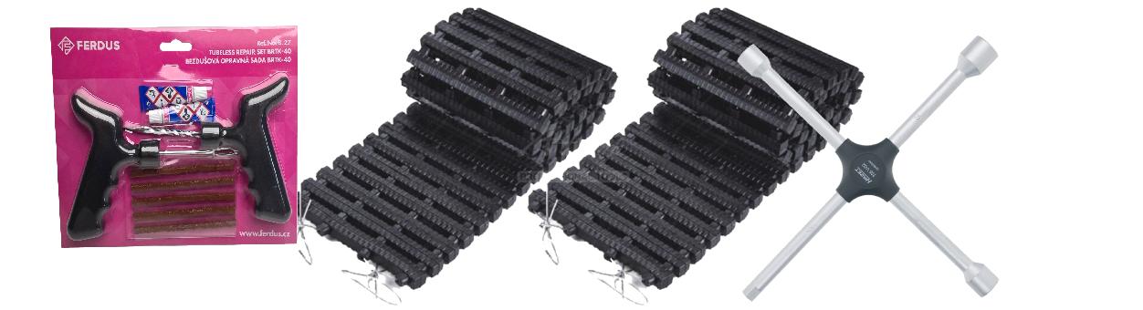Opravné sady pneu, vyprošťovací pásy, klíče na kola, čepičky, ventilky