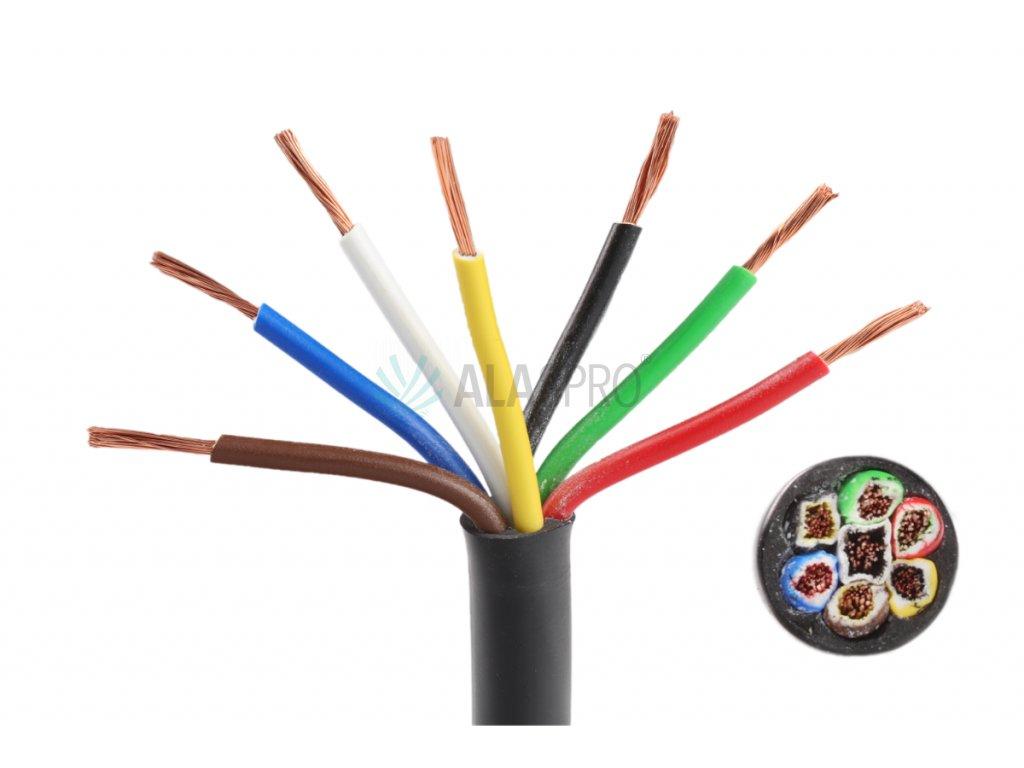 Kabel 7x1 mm2, sedmibarevný, metráž