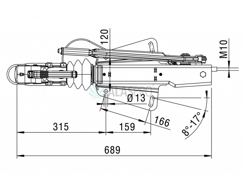 Nájezdová brzda AL-KO 161S HM 950-1600 kg (horní montáž)