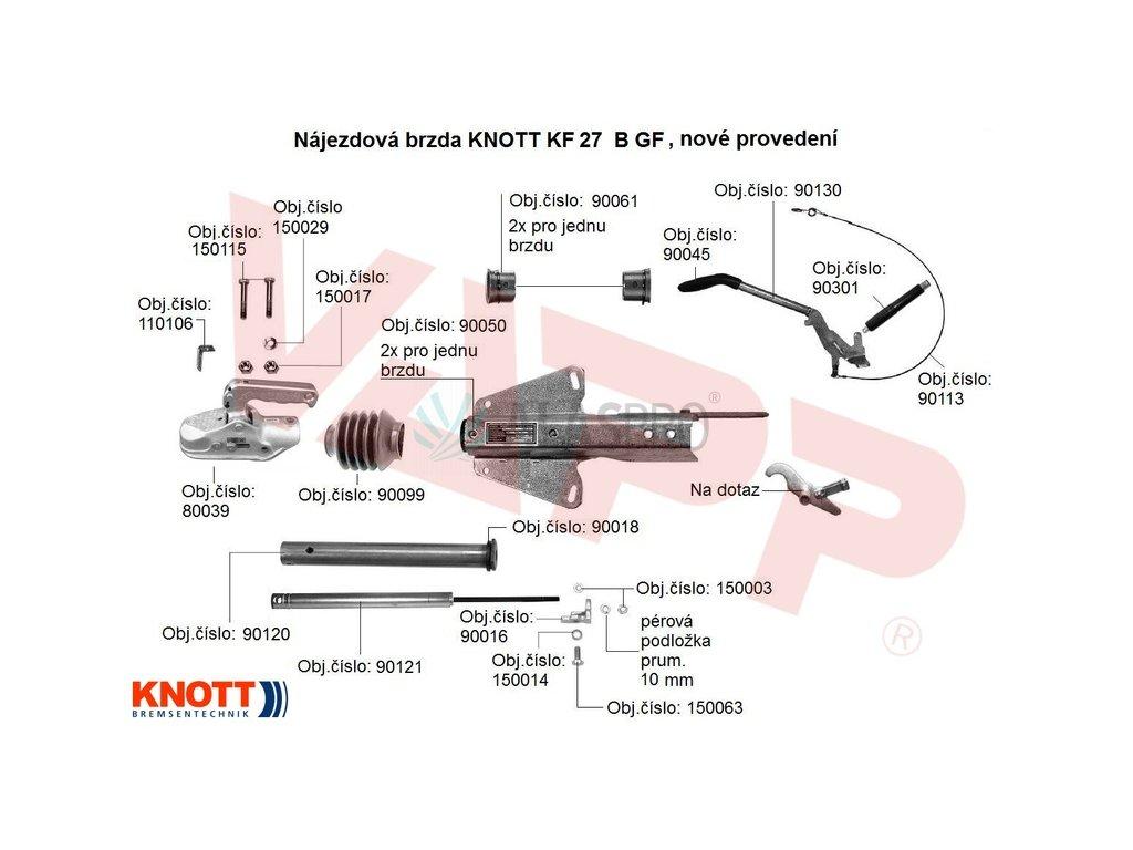 Nájezdová brzda KNOTT KF 27 B (GF), náhrada za KF 27 A