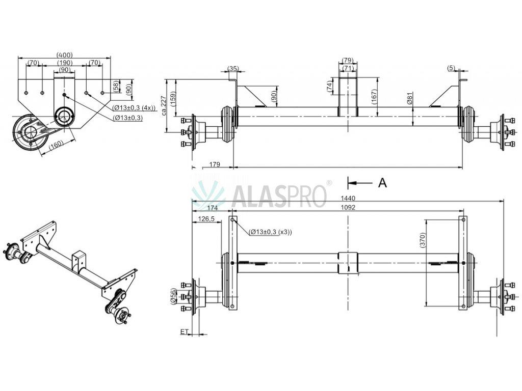 Náprava KNOTT G 13 (1350 kg) b=1092 mm (100x4), vysoké patky, (NP,DV)