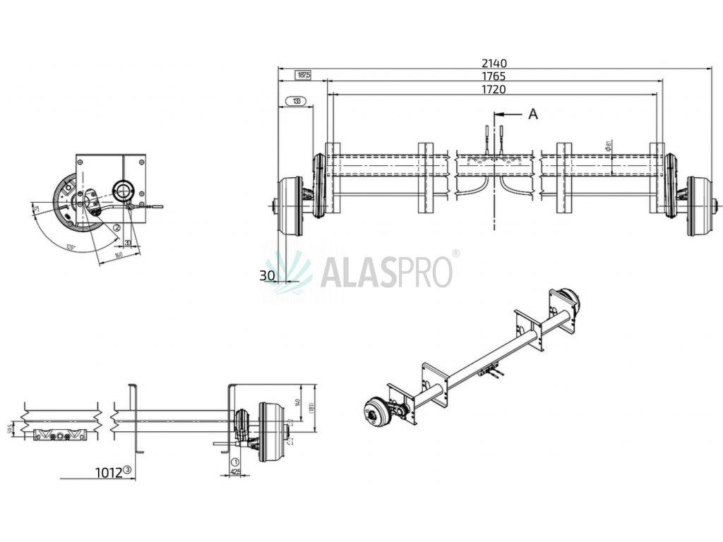 Náprava KNOTT GB 10 (1000 kg) b=1720 mm 200x50 (100x4), autotr. PA/PV 1,82