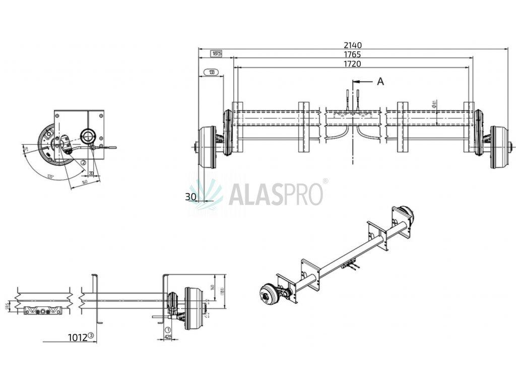 Náprava KNOTT GB 13 (1350 kg) b=1720 mm 200x50 (112x5), autotr. PA/PV 1,82