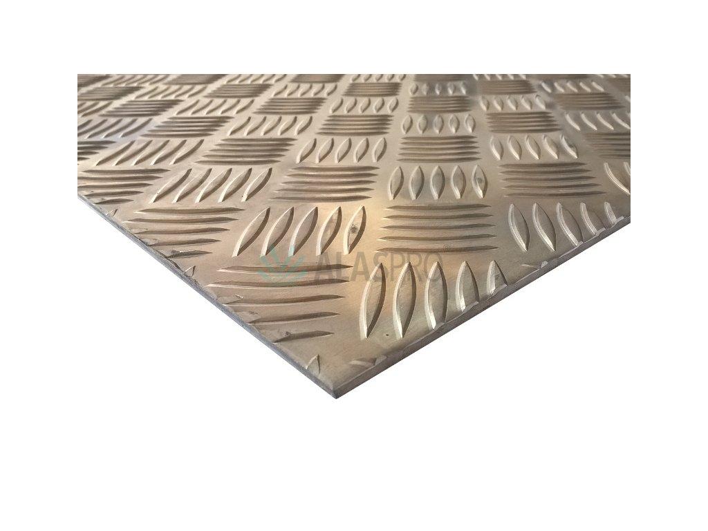 Plech hliníkový AlMg3 protiskluz tl. 4/5,5 mm, tabule 1000 x 2000 mm EN AW 5754-H114