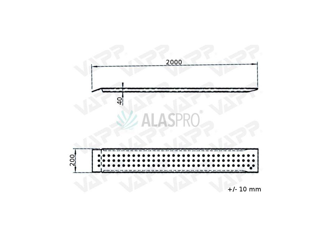 Nájezd hliníkový 2000/200 mm rovný (400 kg na pár)