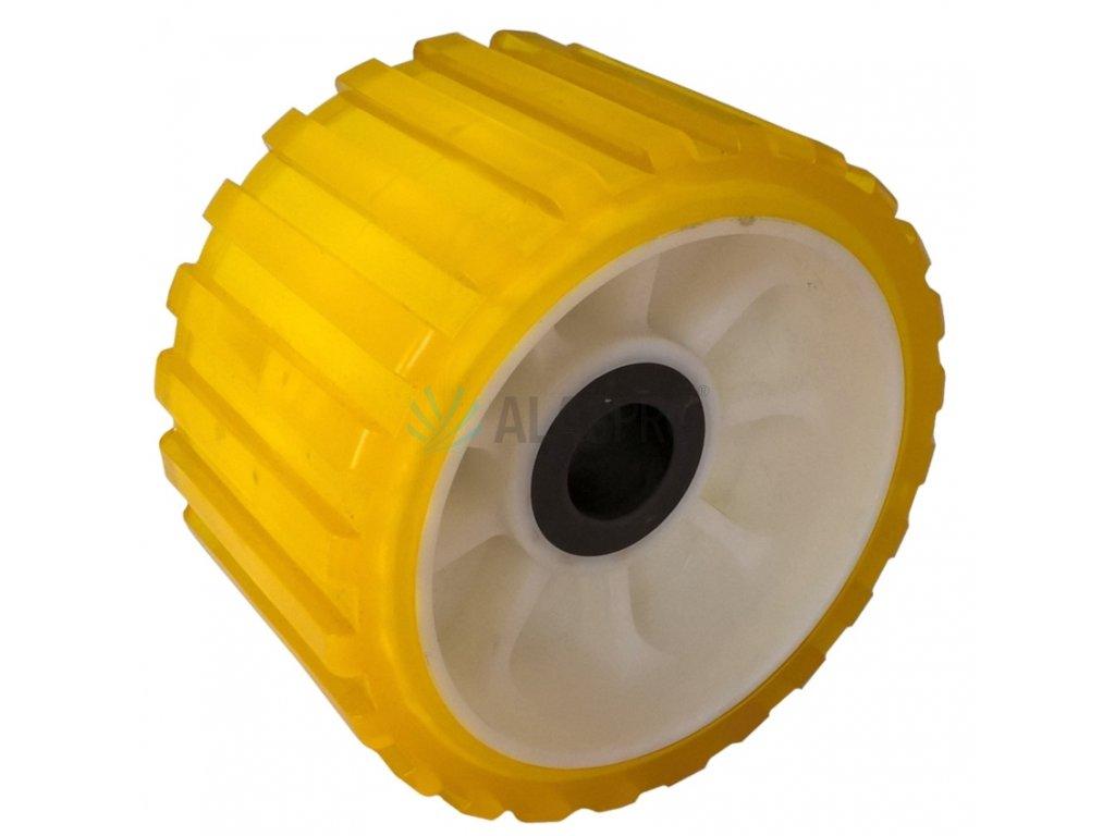 Rolna boční 5'' žlutá PVC, pr. 128 mm, d=22 mm, l=75 mm
