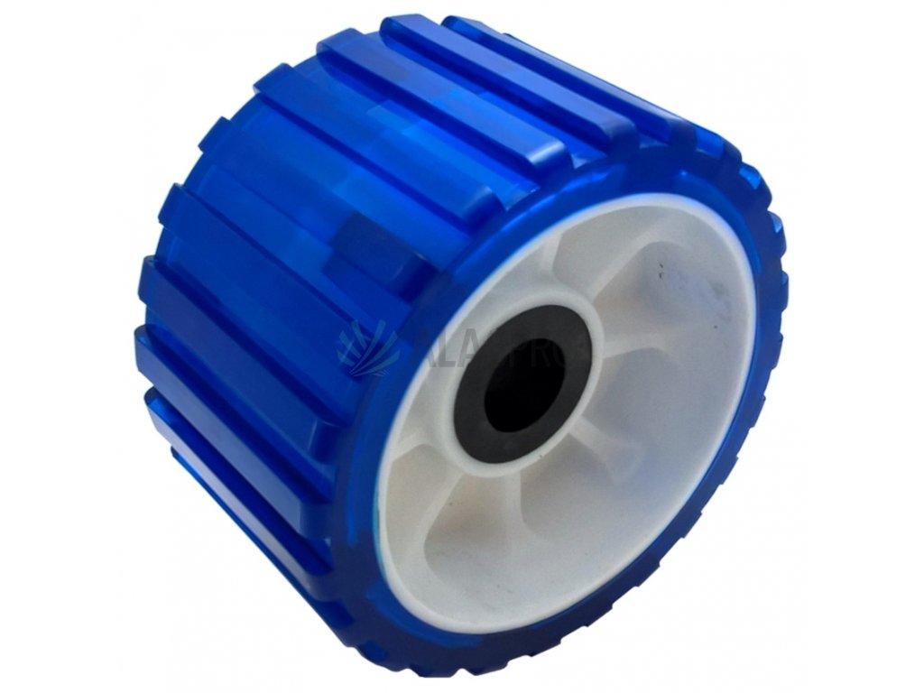 Rolna boční 5'' modrá PVC, pr. 128 mm, d=22 mm, l=75 mm