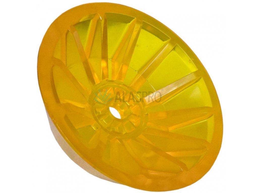 Koncovka rolny kuželová 4'' žlutá PVC, pr. 130 mm, d=14 mm, l=40 mm