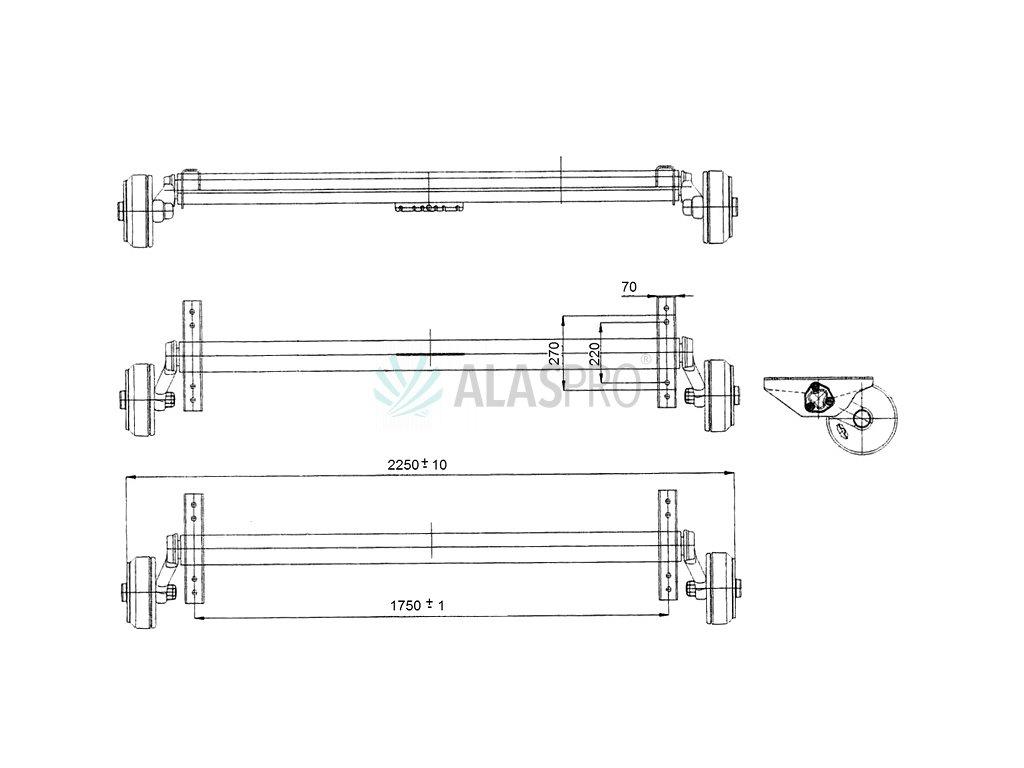 Náprava AL-KO Plus B 1800-9 (1800 kg) a=1750 mm, 112x5 zesílené patky
