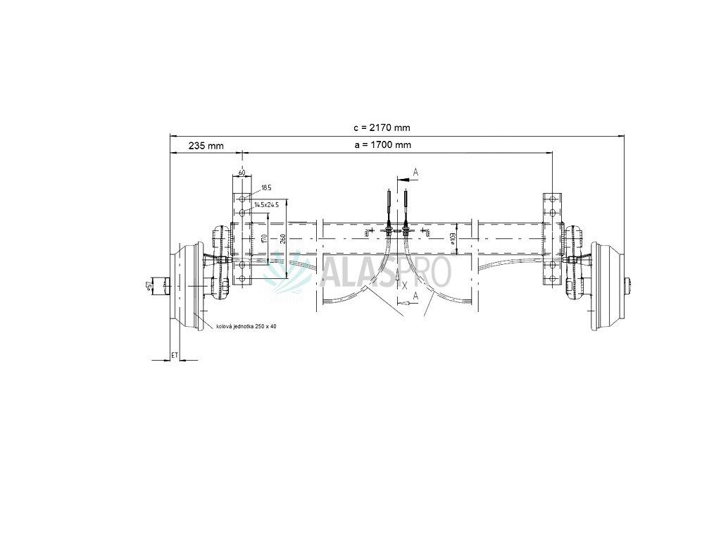 Náprava KNOTT GB 18 (1800 kg) b=1700 mm 250x40 (112x5), 25°
