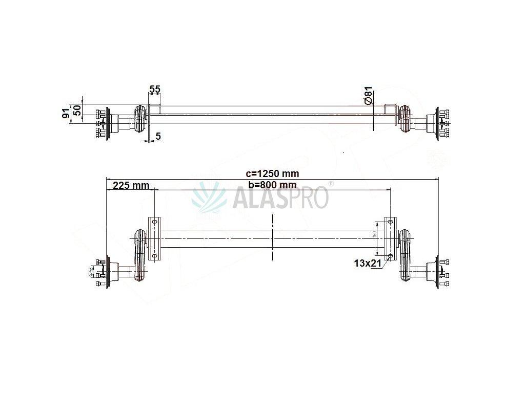 Náprava KNOTT G 13 (1300 kg) b= 800 mm (100x4), nízké patky