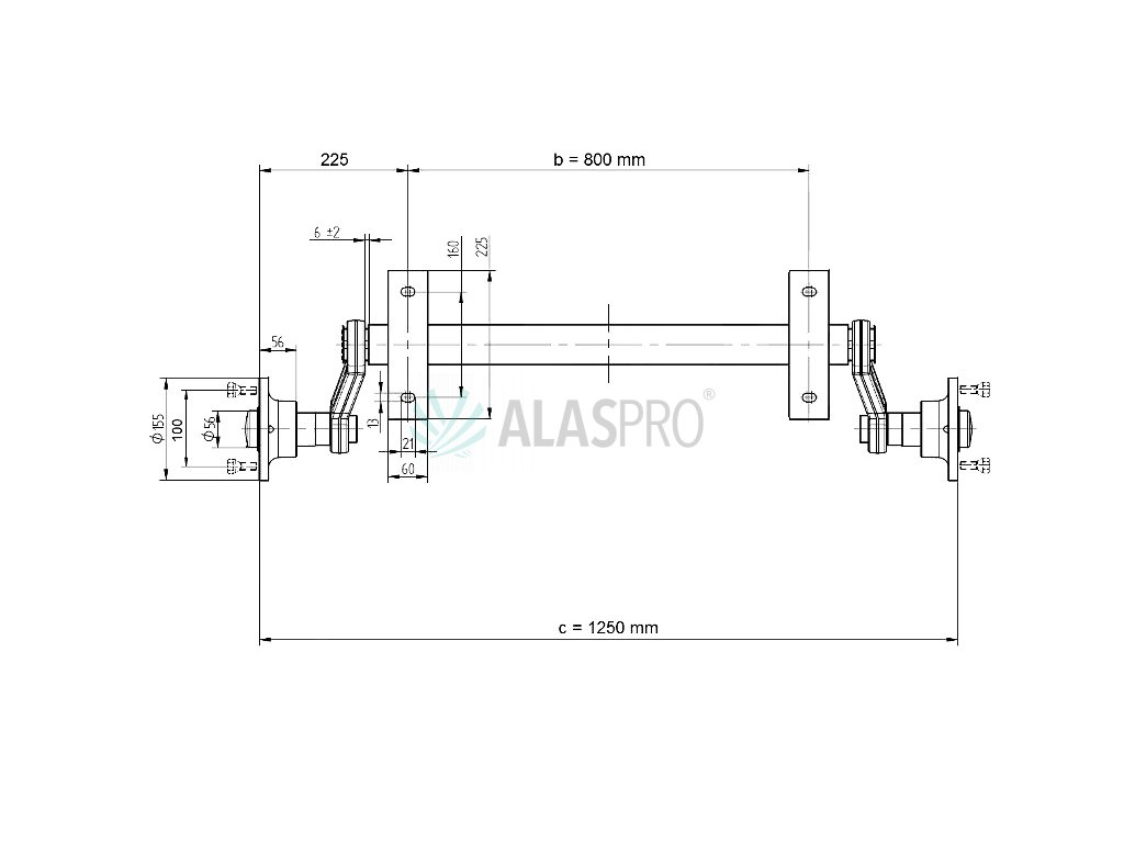 Náprava KNOTT VG 7-L (750 kg) b= 800 mm c=1250 mm (100x4), nízké patky