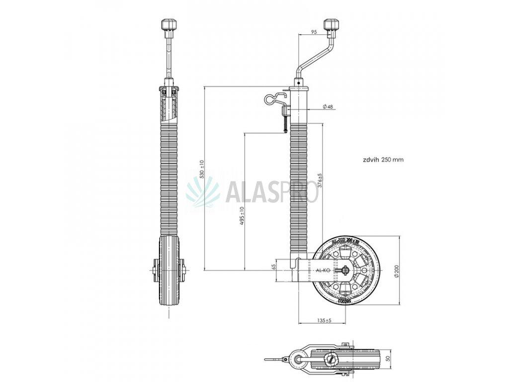 Kolečko opěrné drážkované s pojistkou AL-KO 48 200x50 300/180 kg