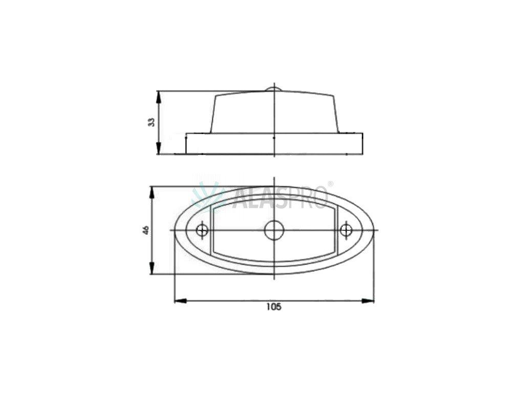 Sklo svítilny GMAK G02 přední obrysové
