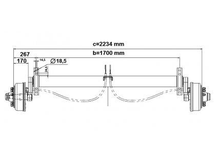 Náprava KNOTT GB 35-SV (3500 kg) b=1700 c=2234 mm 300x60 (205x6)