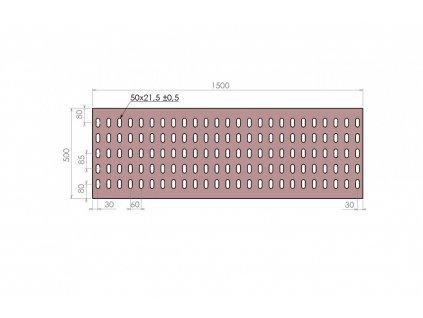 Plech děrovaný 1500 x 500/tl. 3 mm KB (85x60), pozink