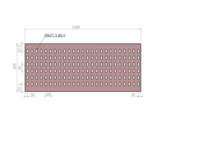 Plech děrovaný 1500 x 620/tl. 3 mm KB (85x60), pozink