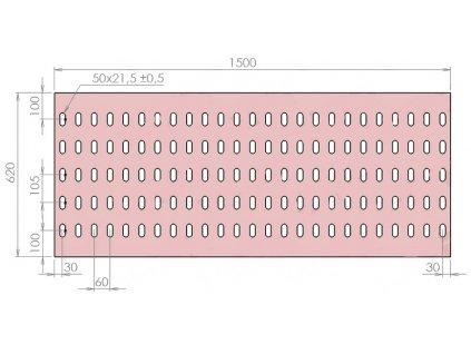 Plech děrovaný 1500 x 620/tl. 3 mm LO (105x60), pozink