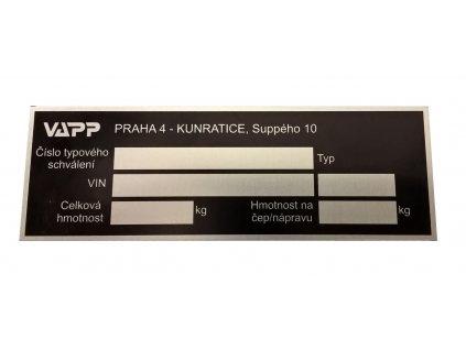 Výrobní štítek VAPP (r.v. 1991 - 2003 ) včetně ražby