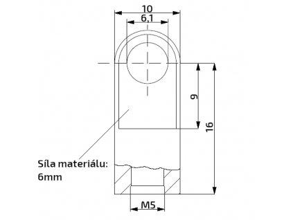 Oko k plynové vzpěře 16x10x6, otvor 6,1mm, pro závit M5