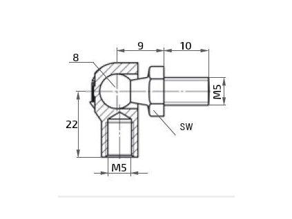 Kulový kloub k plynové vzpěře M5x10 (c=22mm), pro závit M5
