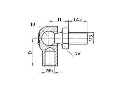 Kulový kloub k plynové vzpěře M6x12,5 (c=25mm), pro závit M6